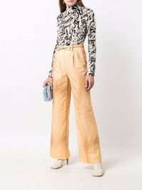 Fendi high-waisted dyed trousers orange / womens front pleated cotton trouses / women's designer fashion