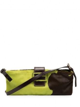 Fendi Pre-Owned FF plaque shoulder bag in chartreuse green/coffee brown ~ designer handbags - flipped