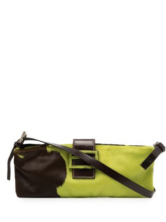 Fendi Pre-Owned FF plaque shoulder bag in chartreuse green/coffee brown ~ designer handbags