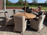 The Garden Furniture Centre Fiji 6 Chair Chunky Dining Set ~ contemporary woven garden table and chairs ~ synthetic rattan outdoor furniture sets ~ seating ~ round dining tables
