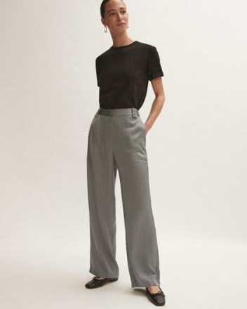 JIGSAW FLUID SATIN CARGO BLUE ~ womens luxe style patch pocket detail trousers - flipped
