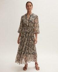JIGSAW FRUIT PAISLEY MAXI DRESS / flowing ruffle trim tie waist dresses / womens feminine fashion