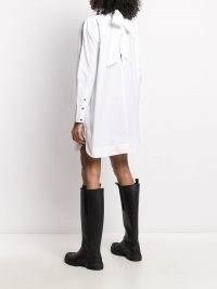 GANNI bow detail shirt dress ~ white cotton long sleeve high neck curved hem dresses ~ womens designer clothing