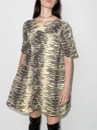 GANNI open back tiger print dress / animal print dresses / low scoop back / flared silhouette