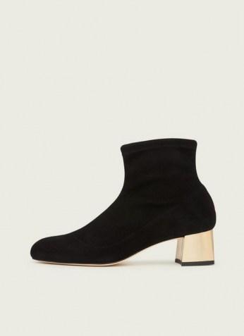 L.K. BENNETT GRACE BLACK STRETCH SUEDE GOLD HEEL ANKLE BOOTS / almond toe block heel boot - flipped