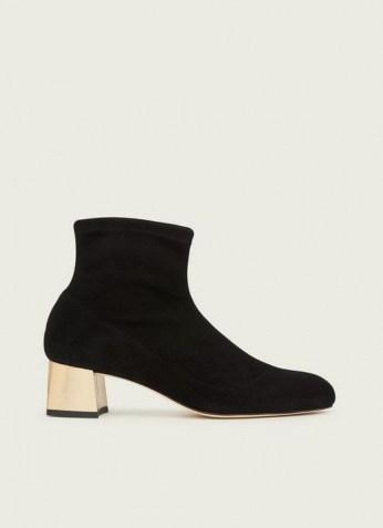 L.K. BENNETT GRACE BLACK STRETCH SUEDE GOLD HEEL ANKLE BOOTS / almond toe block heel boot