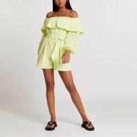 RIVER ISLAND Green bardot frill belted playsuit ~ womens ruffle trim tie waist playsuits