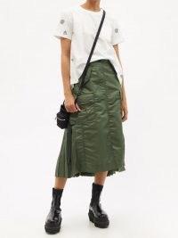 SACAI Cargo-pocket pleated nylon-twill midi skirt | contemporary khaki green skirts