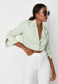 MISSGUIDED green co ord cropped tailored blazer ~ women's crop hem blazers ~ womens split sleeve detail jackets