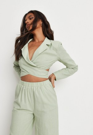 MISSGUIDED green co ord linen mix wrap cropped blazer ~ womens crop hem blazers ~ on trend jackets ~ tie back jacket - flipped