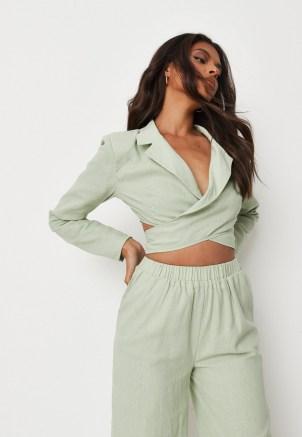 MISSGUIDED green co ord linen mix wrap cropped blazer ~ womens crop hem blazers ~ on trend jackets ~ tie back jacket