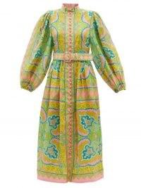 ZIMMERMANN Estelle paisley-print linen-voile midi dress / printed balloon sleeve high neck boho dresses / bohemian inspired fashion