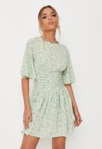 MISSGUIDED green floral print pleated waist mini dress ~ flutter sleeve dresses ~ angel sleeved fashion