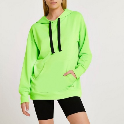 RIVER ISLAND Green fluro oversized hoodie ~ womens bright pullover hoodies - flipped