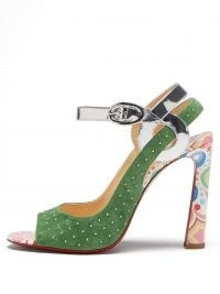 CHRISTIAN LOUBOUTIN Loopinga 100 leather and suede sandals in green ~ luxe metallic detail high heels