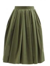 ALEXANDER MCQUEEN Pleated green cotton circle skirt ~ womens designer box-pleat full skirts