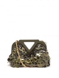 BOTTEGA VENETA Green point paillette-embellished bag ~ glamorous occasion bags ~ chain strap event handbag ~ womens glam accessories ~ evening glamour
