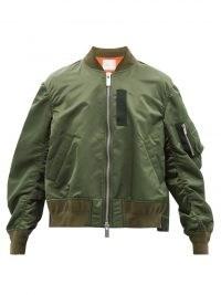 SACAI Green satin bomber jacket | womens casual front zip jackets
