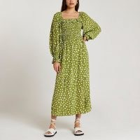 RIVER ISLAND Green spot print shirred midi dress ~ square neck ruffle trim dresses