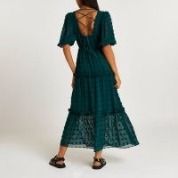 RIVER ISLAND Green spot puff sleeve smock midi dress / strappy cross back tiered hem dresses