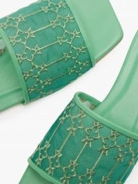 ANDREA WAZEN Sursock green mesh-panel leather slides ~ womens luxe embroidered sliders