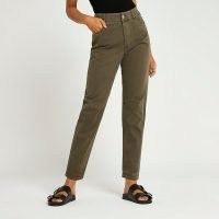 RIVER ISLAND Green tapered twill trousers ~ womens casual cottin trousers