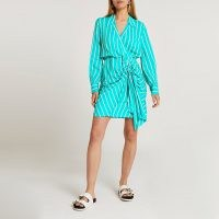 RIVER ISLAND Green tie front stripe shirt dress ~ point collar ruched detail dresses