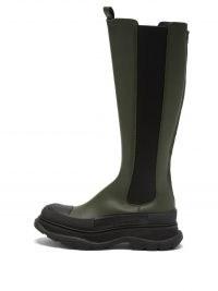 ALEXANDER MCQUEEN Tread-sole green leather Chelsea boots ~ womens designer footwear