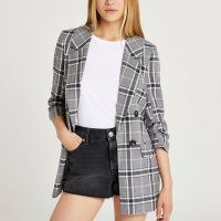 RIVER ISLAND Grey Check Long Soft Blazer MS ~ womens checked blazers ~ on trend longline jackets ~ women's outerwear