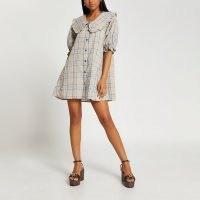 River Island Grey check short puff sleeve collar dress | checked flared dresses | ruffle trim oversized collars