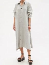 ESKANDAR Delave-dyed linen-blend shirt dress ~ loose fit handkerchief hem dresses ~ womens effortless style designer fashion
