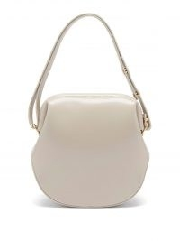 OSOI Toast Brot grey-leather shoulder bag / small luxe vintage style handbags / curved shaped crossbody bags