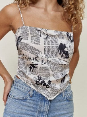 REFORMATION Gruyere Top in Climate Newsprint / printed silk camisole tops / skinny strap scarf hem camisoles - flipped