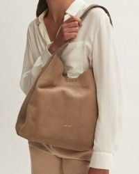 Jigsaw HECKFIELD SUEDE SLOUCH BAG in Acorn | large luxe slouchy shoulder bags