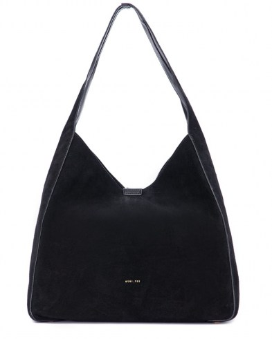 Jigsaw HECKFIELD BLACK SUEDE SLOUCH BAG | slouchy shoulder bags | roomy handbags - flipped