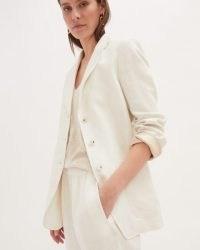 JIGSAW HERRINGBONE LINEN JACKET WHITE / womens single breasted summer jackets