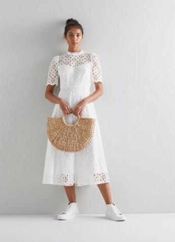 L.K. BENNETT HONOR WHITE COTTON DRESS ~ summer cut out lace style dresses ~ womens feminine summer fashion - flipped