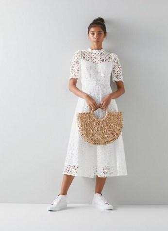 L.K. BENNETT HONOR WHITE COTTON DRESS ~ summer cut out lace style dresses ~ womens feminine summer fashion
