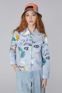 gorman x Ellen Rutt INCOMPLETE THOUGHT JACKET – womens organic cotton denim abstract print jackets