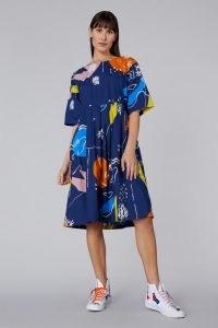 Ellen Rutt x Gorman INCOMPLETE THOUGHT SADIE DRESS – blue abstract print organic cotton smocked dresses
