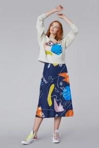 Ellen Rutt x Gorman INCOMPLETE THOUGHT SKIRT – linen abstract print midi skirts
