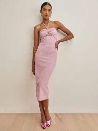 REFORMATION Indie Dress Light Pink ~ strappy halterneck front cut out detail dresses