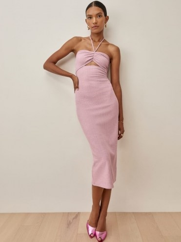 REFORMATION Indie Dress Light Pink ~ strappy halterneck front cut out detail dresses - flipped