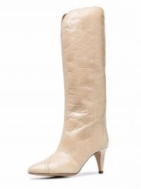 Isabel Marant Lestany crease-effect 80mm beige leather boots / womens western style footwear
