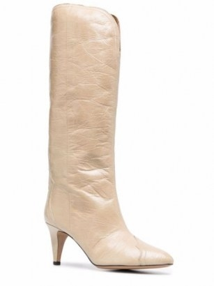 Isabel Marant Lestany crease-effect 80mm beige leather boots / womens western style footwear - flipped