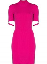 JACQUEMUS La Robe Torre short strapped sleeve rib knit dress in pink
