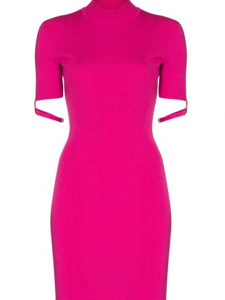 JACQUEMUS La Robe Torre short strapped sleeve rib knit dress in pink - flipped