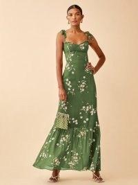 REFORMATION Jasen Dress in Lomita / green floral summer occasion maxi dresses / tiered hem / tie shoulder straps / womens feminine event fashion