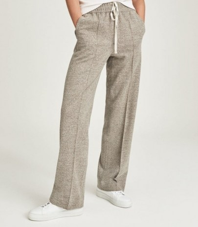REISS JOEY TEXTURED WIDE LEG TROUSERS MINK / womens chic jogger style drawcord trousers / loungewear / casual fashion - flipped