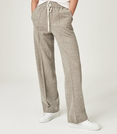 REISS JOEY TEXTURED WIDE LEG TROUSERS MINK / womens chic jogger style drawcord trousers / loungewear / casual fashion